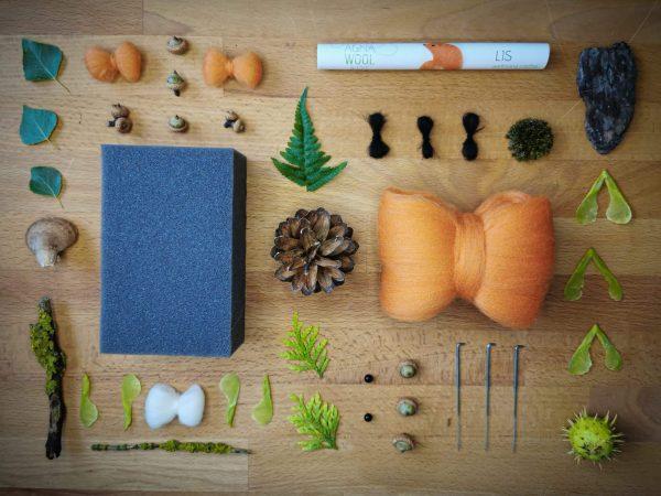 komponenty zestawu do filcowania lis
